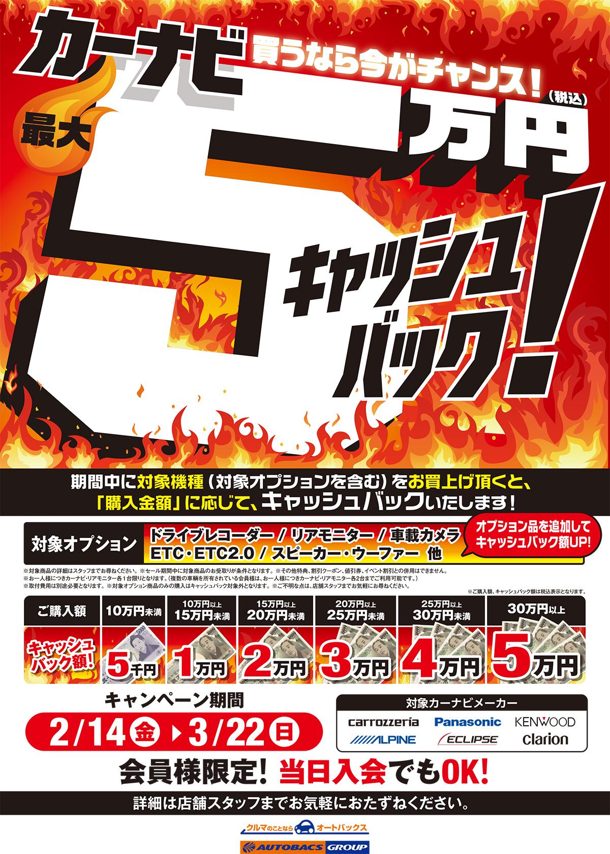 カーナビ買うなら今がチャンス!最大5万円キャッシュバック